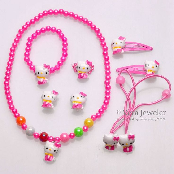 Find More Jewelry Sets Information about Girls Jewelry Sit Hello Kitty Full Body Hair Accessories+Bracelet+Ring+Earrings+Necklace Sets 6PC Childrens Jewellery Wholesale,High Quality jewellery necklace,China jewellery earings Suppliers, Cheap girls jewellery box from Vera Jeweler Fashion Store on Aliexpress.com