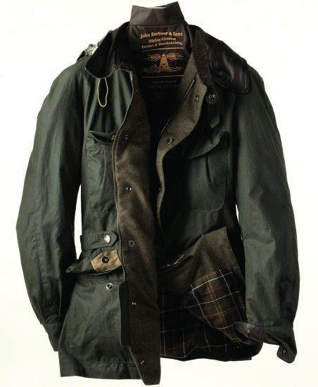 Classic British clothing company Barbour makes this beautiful waxed cotton jacket.  I want it.