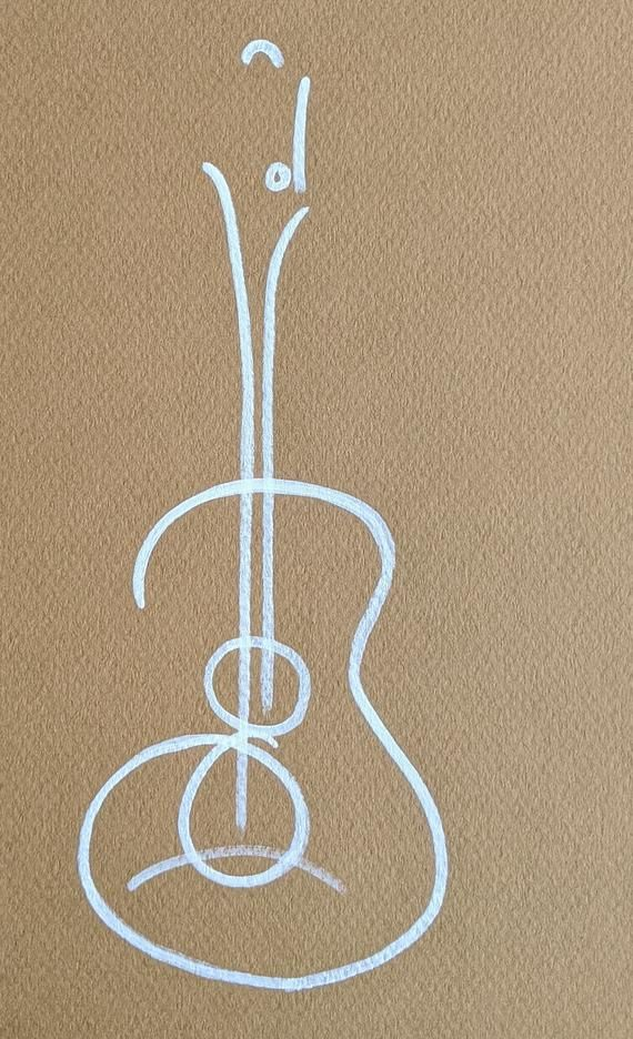 White Abstract Drawing Of Guitar On Dark Beige Yellow Etsy In 2021 Abstract Drawings Drawings Dark Beige