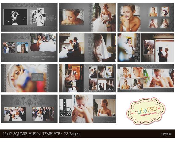 Instant Download 12x12 Square wedding album template 22 by CutePSD, $20.00