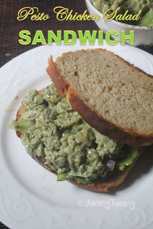 Delicious and healthy pesto chicken salad sandwich which is super easy to make and taste delicious. Perfect as a light lunch.