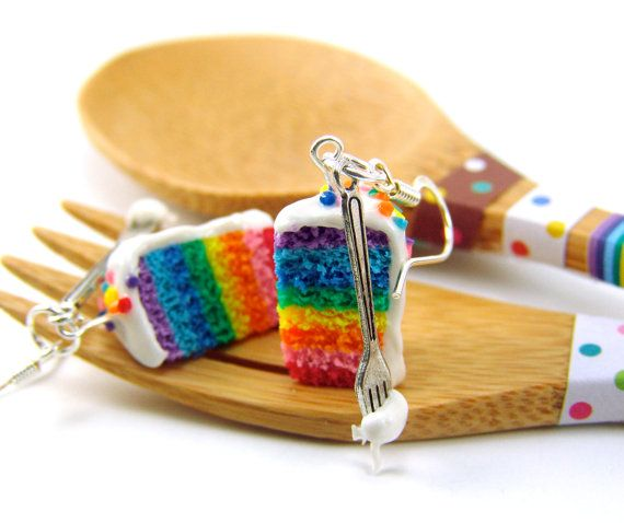 Rainbow Cake Earrings Colorful Food Jewelry Food by mousemarket, $29.50