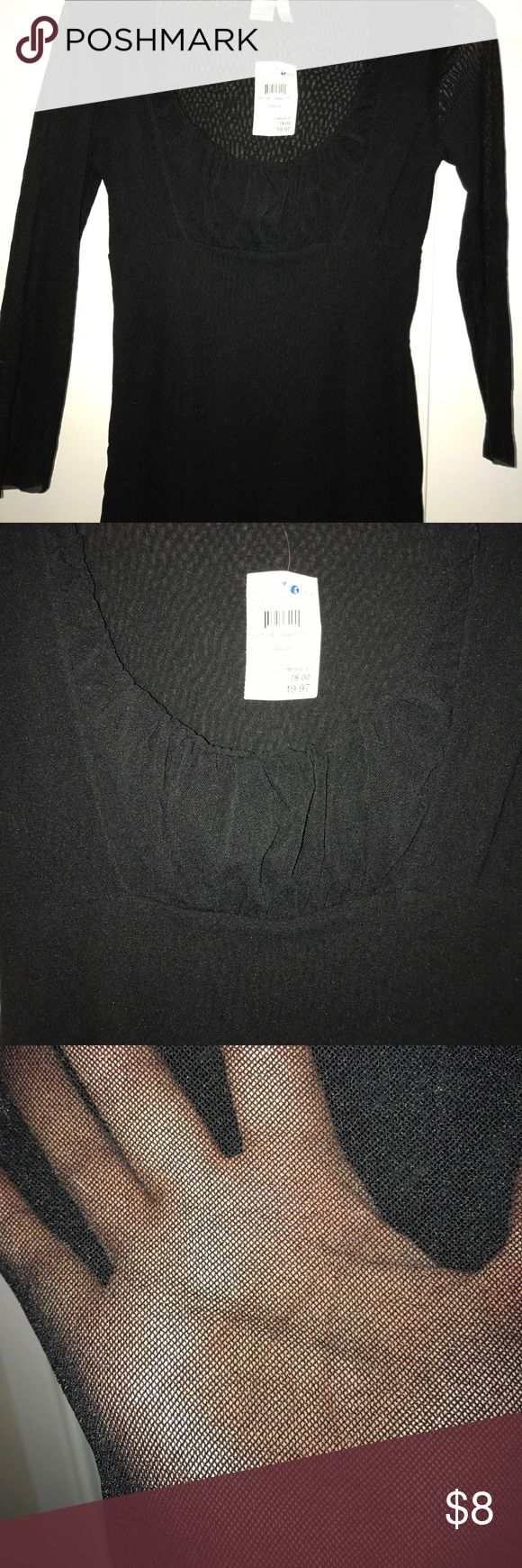 SZ Med BLK STRETCHY TOP Black low cut bracelet sleeve. Stretchy. See thru sleeves but double lined thru bodice. NWT. Nord rack. Tops