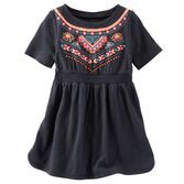 Charcoal jersey gets colorful with a fun puff print. Half sleeves and a smocked waist keep this dress charming.