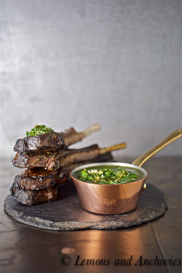 Grilled #LambChops with #Chimichurri Sauce. Lamb Chops are quickly seared on the grill, leaving the inside perfectly pink, and dressed with a simple chimichurri sauce. #recipe