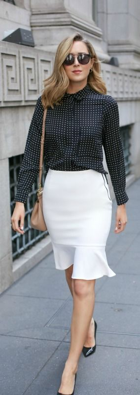 flounce hem white pencil skirt, polka dot blouse, black patent pumps, nude satchel handbag, sunglasses + curled hairstyle {ellen tracy, topshop, sjp collection, dolce&gabbana, wonderland}
