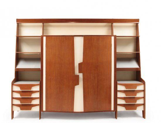 Gio Ponti; Mahogany Veneer, Laminate, Lacquered Wood and Glass Storage Unit, 1950s.