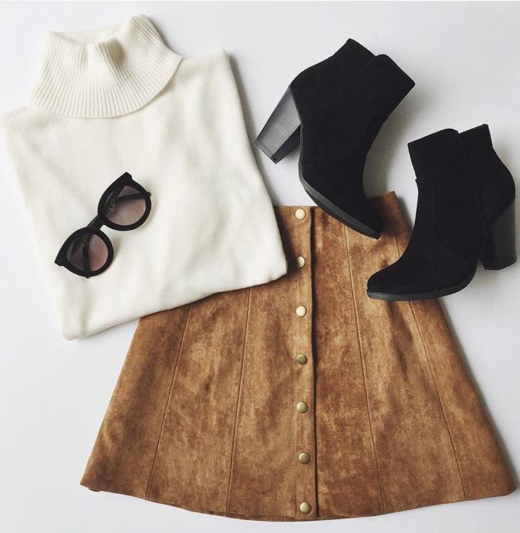 Black Turtle neck, sued skirt tan boots