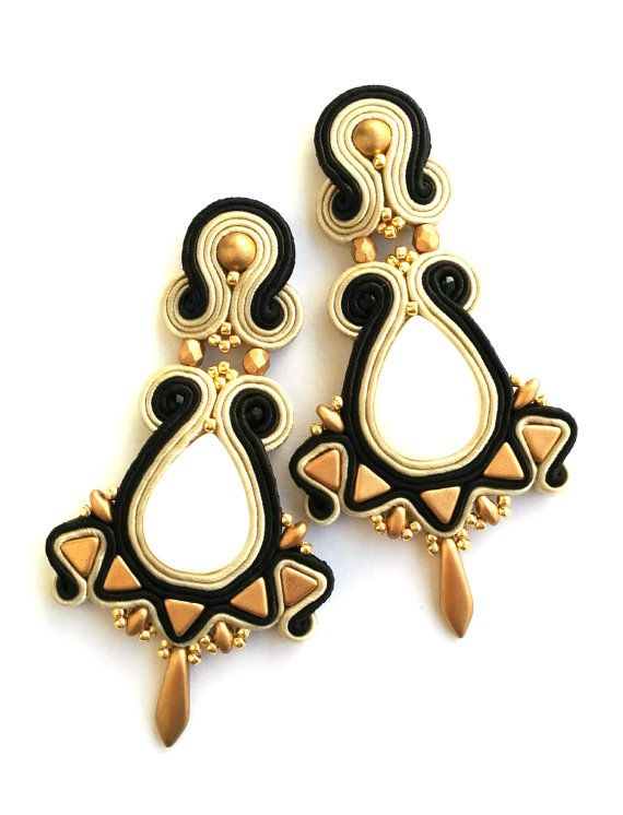 Soutache earrings Boucles d'oreilles soutache art by SaboDesign