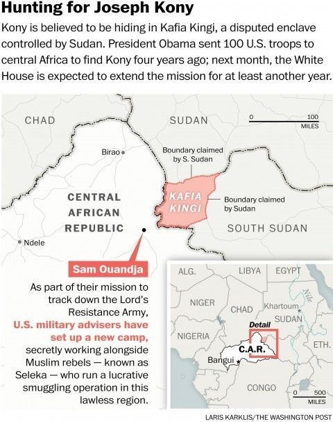 """U.S. troops have turned to some unsavory partners to help find warlord Joseph Kony"" By Craig Whitlock and Thomas Gibbons-Neff. 9-29-15. Paul Ronan said the U.S. government would lose credibility if it declared victory prematurely. ""If we give up on this mission, it sends a message to the rest of the continent that if you outlast us for a few years, essentially we'll just give up."" ""We're engaging with whomever has information that is relevant,"" said Amanda Dory, the deputy assistant…"