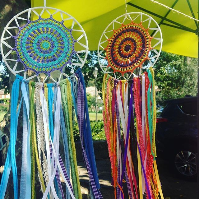 Such a hot summer day (currently 35 degrees!), swinging dreamcatchers bring some freshness. #atelierprya #dreamcatcher #mandala #mandaladreamcatcher #summer #etsy #spiritualdreamcatcher