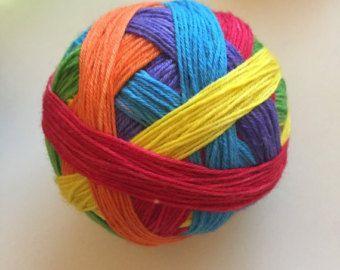 Hand dyed, self striping sock yarn /DK Rainbow Stripes