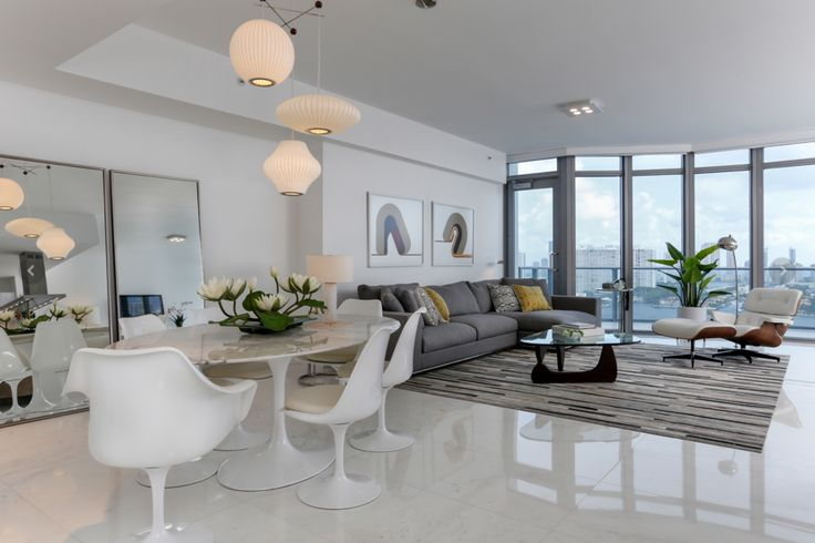 A Very Modern Living Room Located In Downtown Miami Penthouse