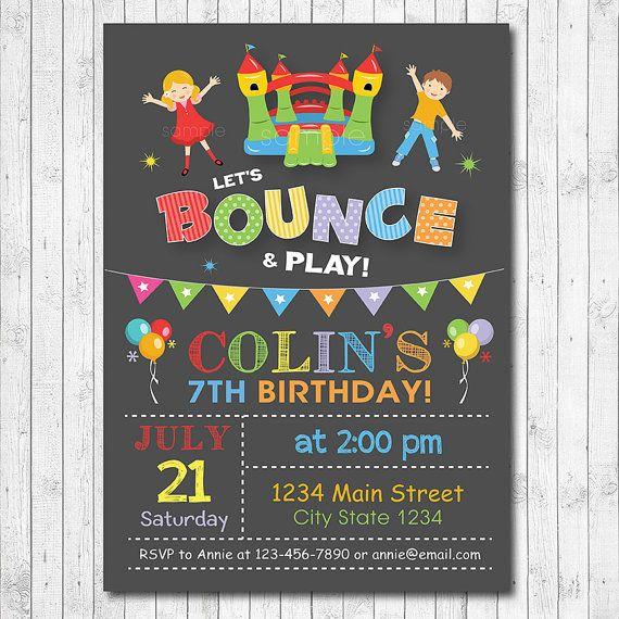 Bounce House Birthday Invitation Jump Invite by funkymushrooms