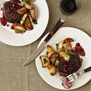Beef Filets with Pomegranate-Pinot Sauce Recipe   MyRecipes.com Mobile