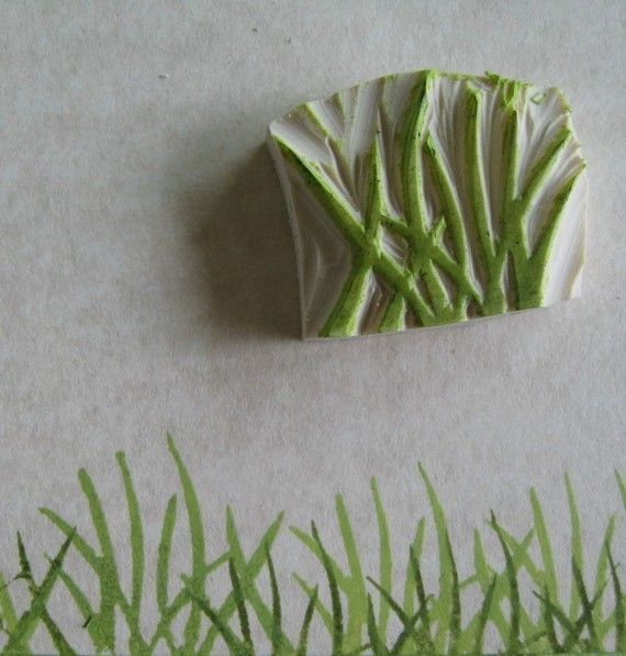 Grass Rubber Stamp Hand Carved: