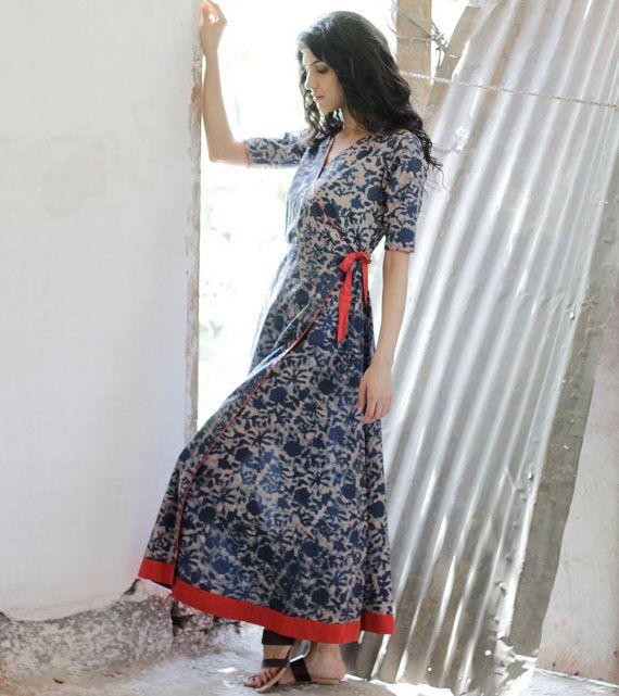 Indigo Floral wrap dress by KharaKapas on Etsy