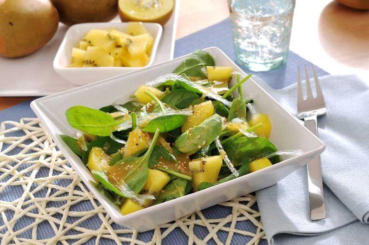 Recetas: Ensalada de agar agar, espinacas y kiwi