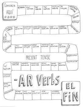 Spanish -AR verbs game board ~Spanish verb conjugation pra
