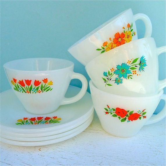 Vintage Fire King Floral Assorted Tea Cups and Saucer