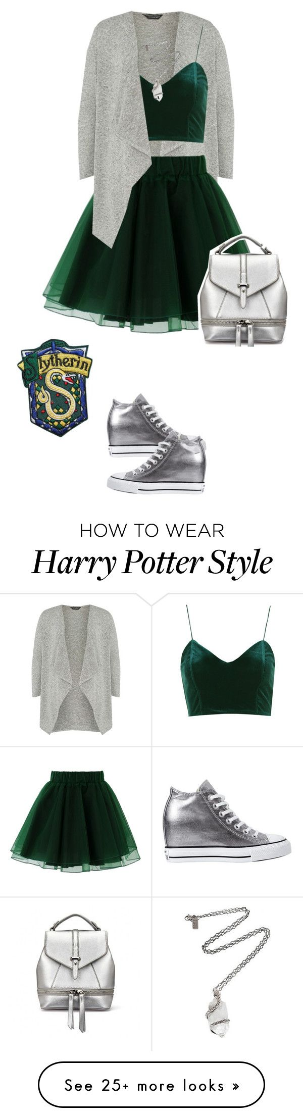 """House Pride Fashion: Slytherin for Fall"" by mary-janeglitters on Polyvore featuring Dorothy Perkins, Chicwish, Topshop, Converse and Pamela Love"