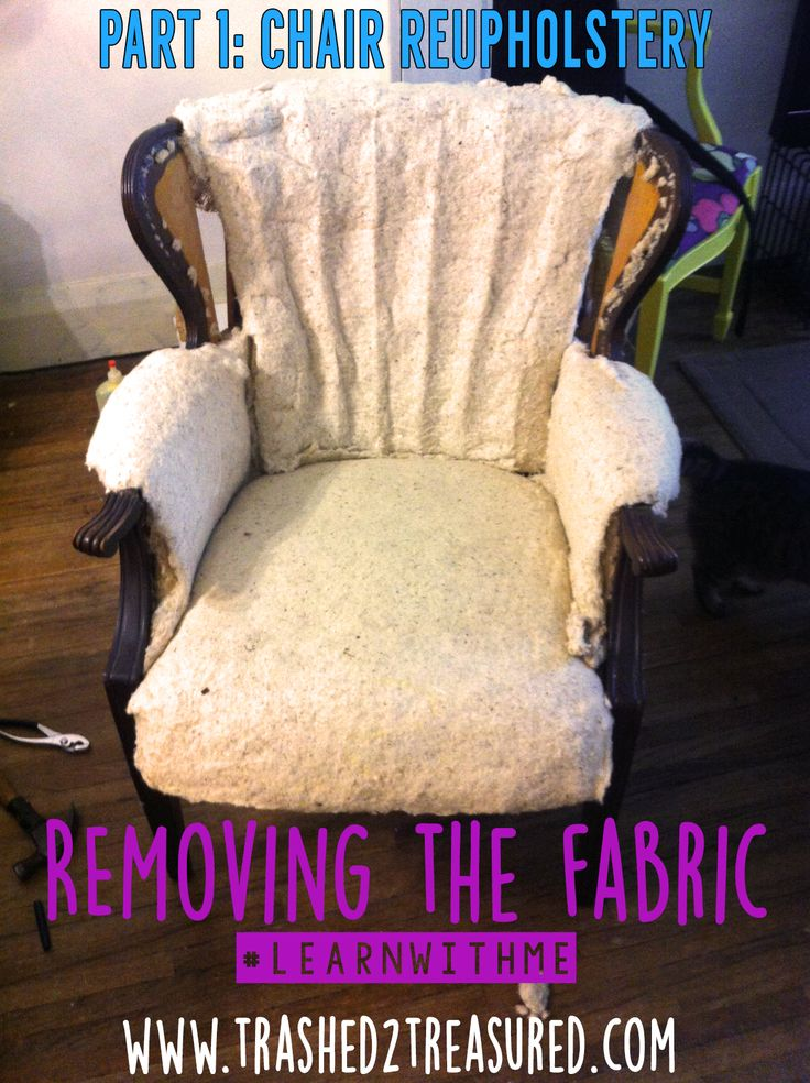 Took on an intimidating project. Check out Part 1 of my first time big chair reupholstery!