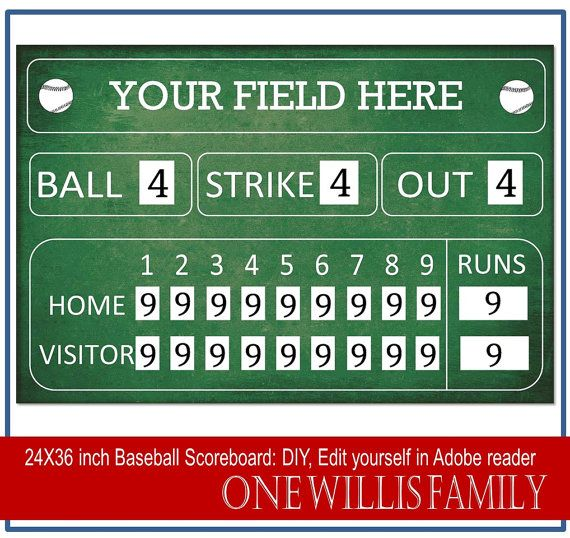 This DIY scoreboard is perfect for your Baseball birthday party or home decor  File contains 2 editable pdf files. 1 Green editable scoreboard 1 Black Editable scoreboard  This is a digital file only. Nothing with be shipped to your house.  ****This is an editable Template...Buyer does the editing****  File Type Contains 2 editable pdf files. You will need adobe reader to edit this file You can download it for free here http://get.adobe.com/reader/ ________________________...