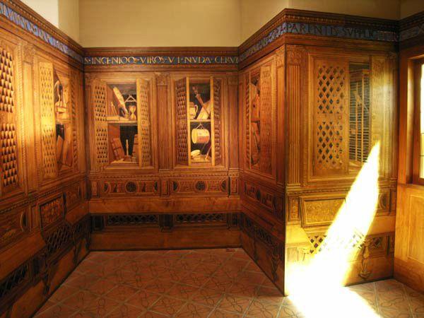 Northeast wall, Gubbio studiolo.