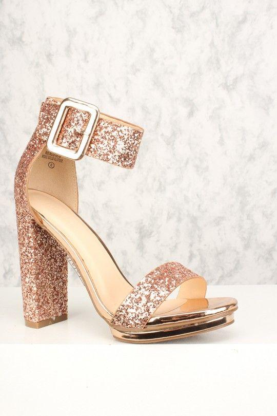 607fb1bbc87d Sexy Rose Gold Chunky Heel Platform Pump Open Toe High Heels Glitter ...
