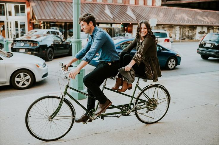 Third Ward District Milwaukee Engagement tandem bicycle | Ali Leigh Photography