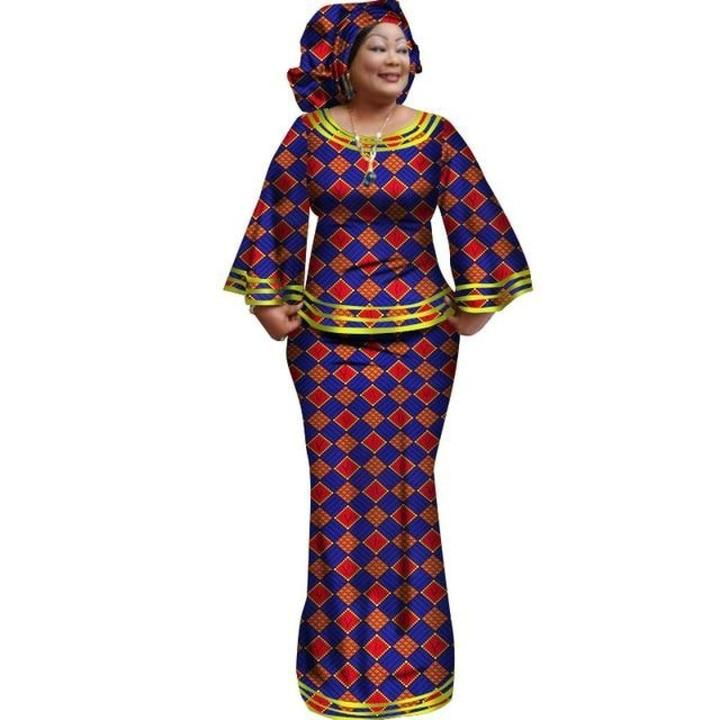 African Style Women Top and Long Skirt For with matching Scarf – Afrinspiratio…