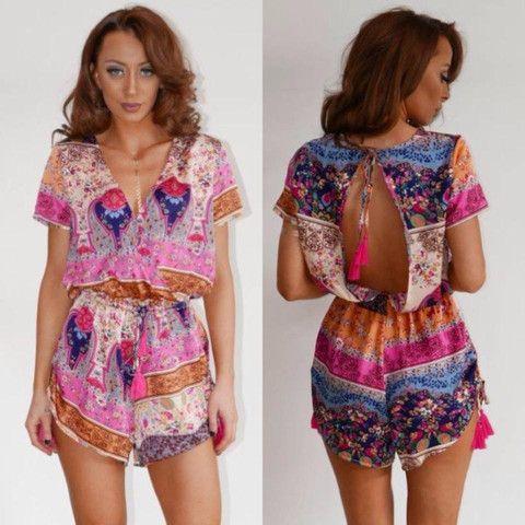 Beachcomber Playsuit Pink Multi – Orange Sherbet Boutique