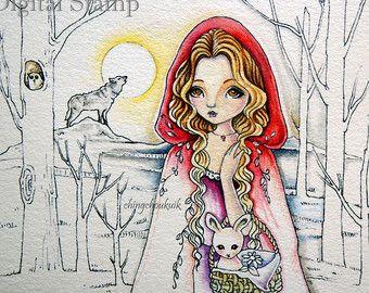 Caminar sin miedo - sello Digital instantánea descargar / lobo Animal conejo conejo Caperucita Roja campana Woods fantasía hada niña arte de Ching-Chou Kuik