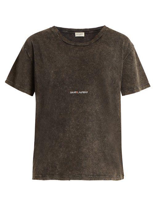 263172155b SAINT LAURENT Logo-print distressed cotton T-shirt. #saintlaurent ...