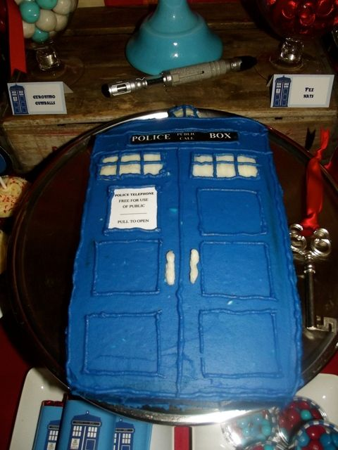 Tardis cake at a Doctor Who Birthday Party! See more party ideas at CatchMyParty.com!