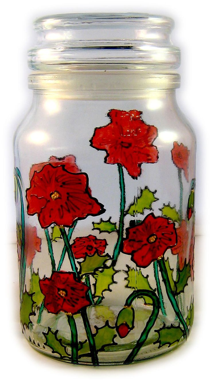 Designer Hand Painted Poppy coffee tea sugar Jar by HandPaintedJar on Etsy