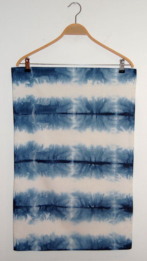 Blue Shibori dip dye pillowcase pair, hand dip dyed, cream background