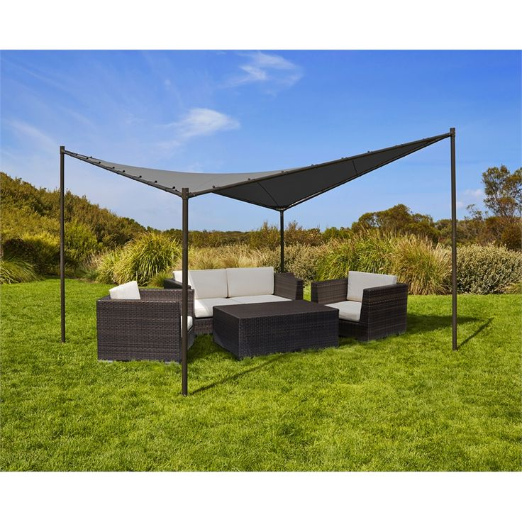 Cooalroo 4 x 4m Charcoal Square Butterfly Semi-Permanent Gazebo