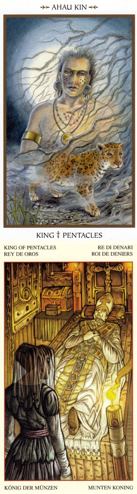 King of Pentacles: security and temptation (reverse). Animals Divine Tarot deck and Mona Lisa Tarot deck: tarotreading, tarotjournaling vs free daily tarot reading. Best 2017 cartomancy meanings playing cards and gothic art. #intuition #ghost #wheeloffortune #cups