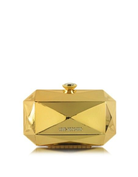 LOVE MOSCHINO GOLD METAL CLUTCH