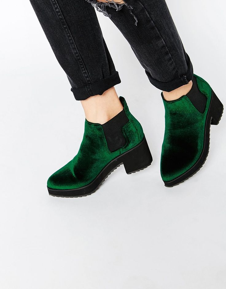 [YES!! In Size 9 and from ASOS.] ASOS RISKY AND FRISKY Chelsea Ankle Boots. Velvet green platform shoes.