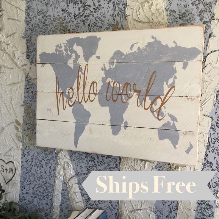 233 best my etsy shop images on pinterest my etsy shop etsy hello world nursery decor map nursery wall art grey wood map gold world map wooden nursery map map wall hanging gift for baby gumiabroncs Image collections