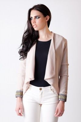 Stunning nude Ellza Blazer exclusive to GEORGIA KING LONDON. Beautiful cuff detail, available in 3 other colours. Made in the UK.