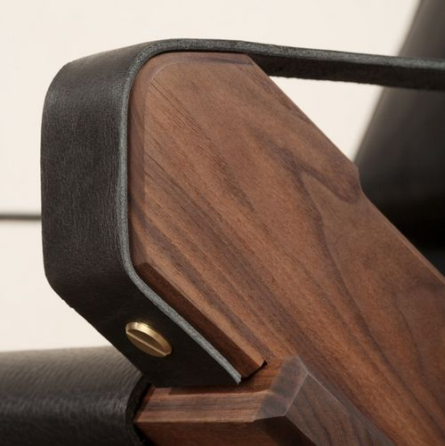 Leather lounge chair arm detail