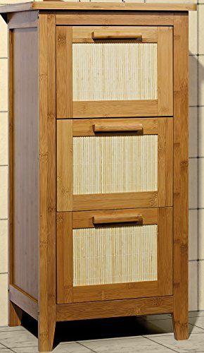 Unterschrank Badezimmermöbel Massivholz Badezimmer Schrank Mit 3 Schubladen  Bambus Massiv Badmöbel