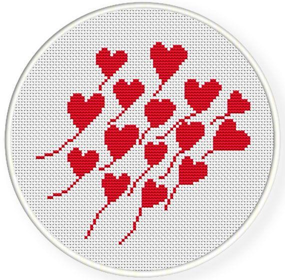 Direct downloaden, gratis verzending, Cross stitch patroon, Crossstitch PDF, hart patroon, zxxc0396