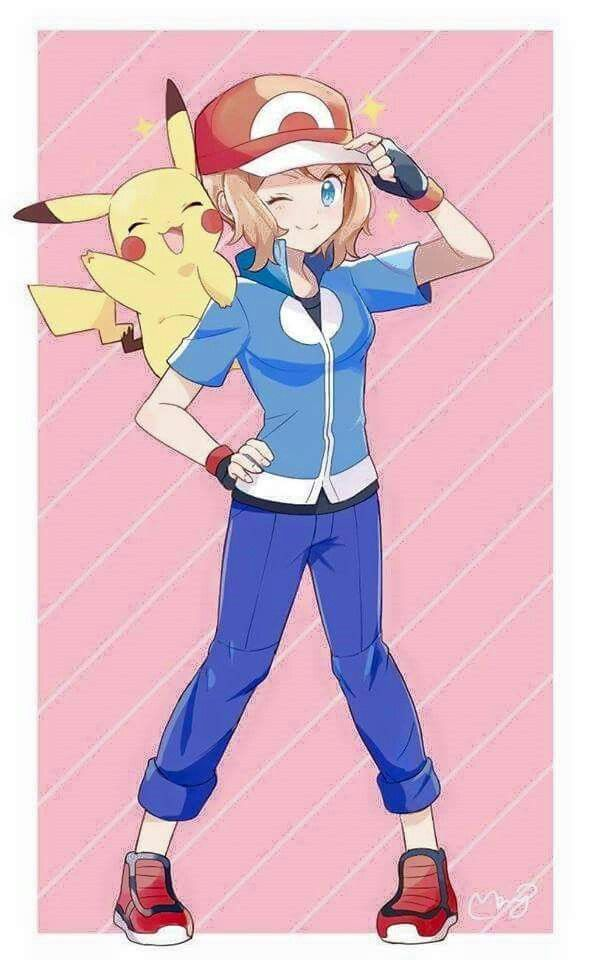 Serena and Pikachu #Amourshipping ^.^ ♡ Credits to whoever made this fan art