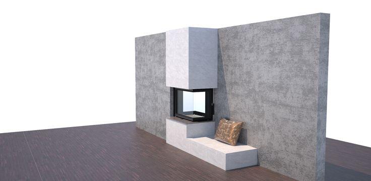 Fireplace, krbová vložka BeF Twin 7 CP-CP Vizualizace možné obestavby průhledové krbové vložky.