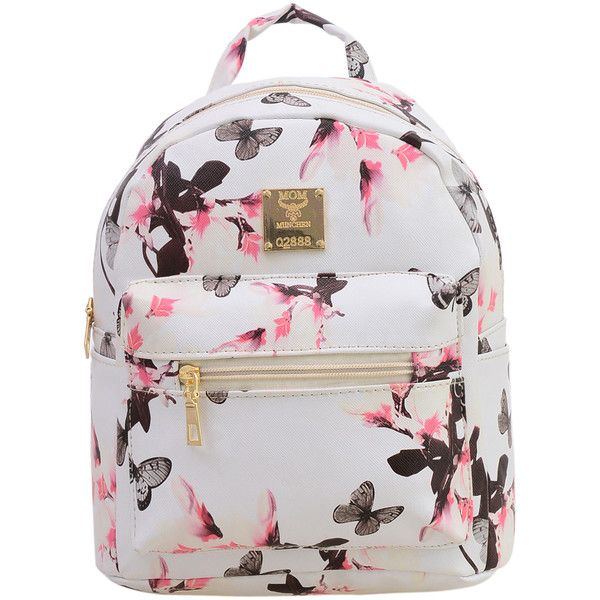 Allover Vintage Flower Print Backpack - White ($21) ❤ liked on Polyvore featuring bags, backpacks, purses, floral bag, vintage bags, white rucksack, white backpack and floral backpack