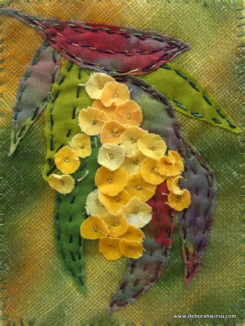 Dye-rag Wattle - 7 x 10cm.  Collage of fabric scraps from my bag of 'dye rags' - used to mop up excess fabric paint when I am colouring fabric.
